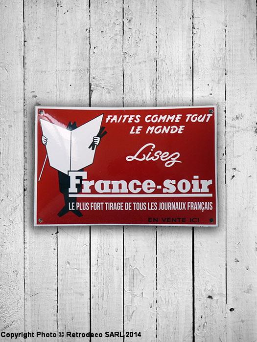 Plaque maill e france soir d co r tro email r plica frso for Plaque deco cuisine retro