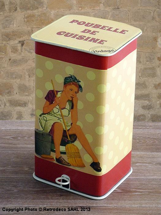Poubelle de cuisine d coration vintage antic line seb11813 for Plaque deco cuisine retro