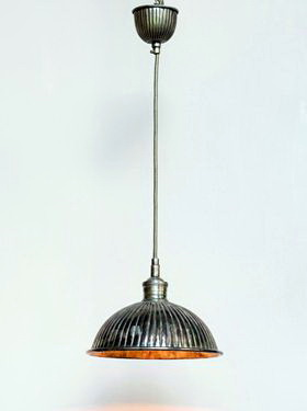 Hanging Lamp striped nickel Chehoma, factory style