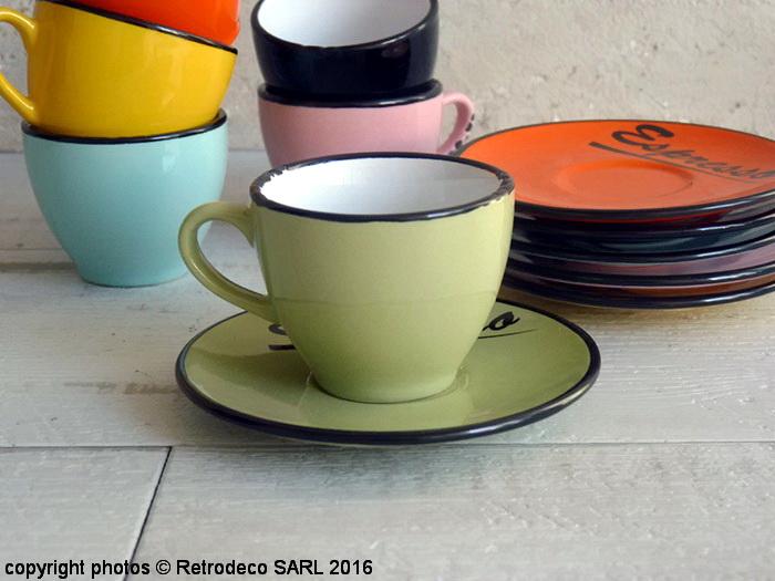 tasse expresso verte et sa sous tasse d co bistro antic line seb14799 3. Black Bedroom Furniture Sets. Home Design Ideas