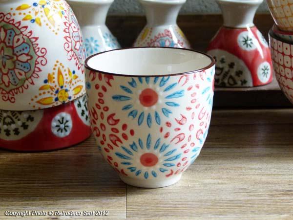 Tasse expresso boh mian bleue et rouge d co ethnique chic for Campagne et decoration fr