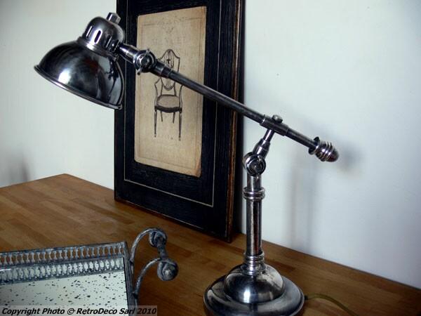 Lampe de bureau nickel ajourée déco industrielle chehoma