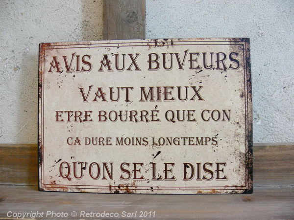 Plaque avis aux buveurs antic line d co bistrot dec9953 for Plaque deco cuisine retro