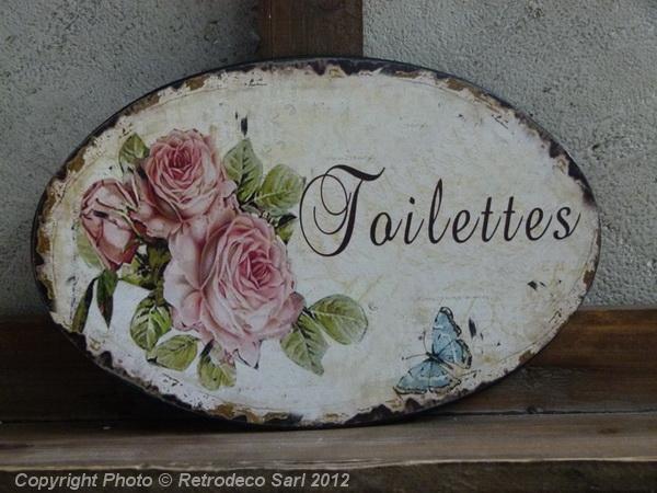 Plaque De Porte Toilettes Roses Antic Line Déco De Charme SEB - Plaques de porte décoratives