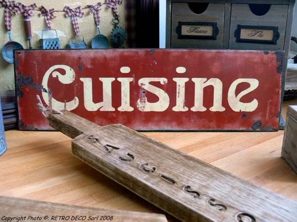 Plaque m tal cuisine d co r tro antic line dec4932 for Plaque deco cuisine retro