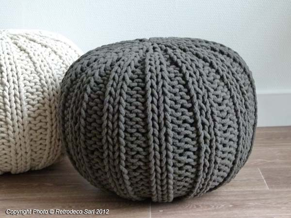 Pouf gris ali baba d coration cosy pomax 21053g for Pomax decoration