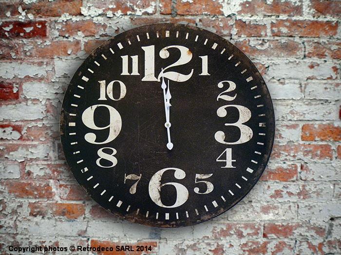 Horloge noire d co atelier antic line seb11857 for Horloge atelier