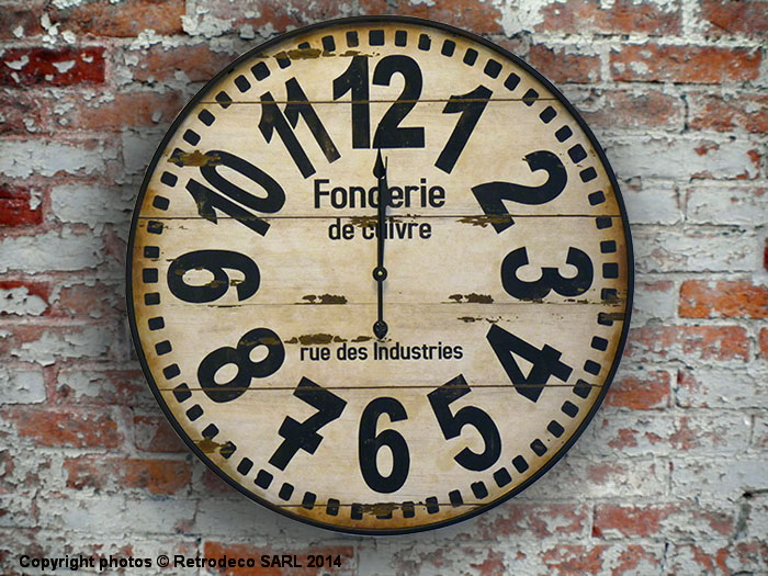 Horloge fonderie de cuivre d co industrielle antic line for Pendule murale industrielle