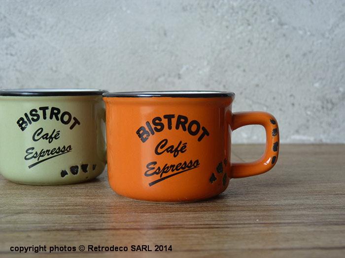 tasse expresso bistrot caf orange d co vintage antic. Black Bedroom Furniture Sets. Home Design Ideas