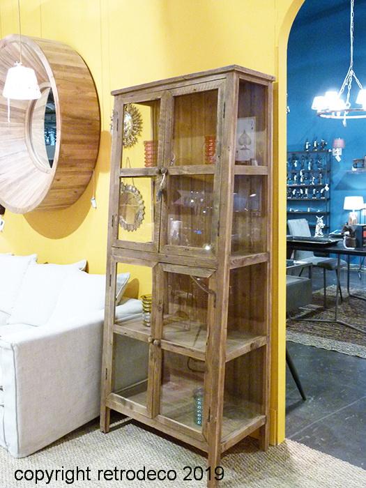 Armoire Vitrée En Bois Laval 4 Niveaux Chehoma Retrodeco Boutique