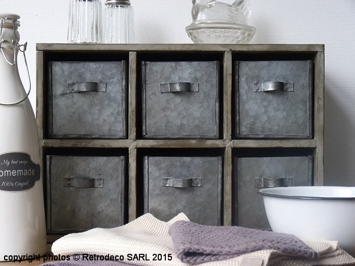 etag re grise poser 6 tiroirs zinc d co campagne ib. Black Bedroom Furniture Sets. Home Design Ideas