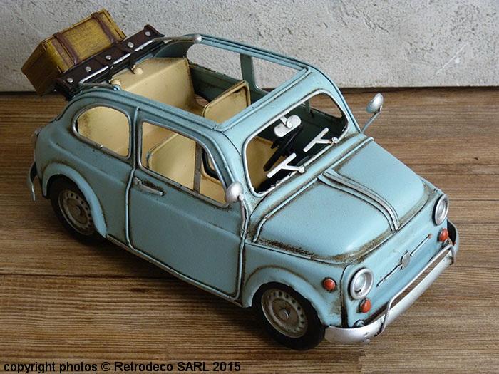 Fiat 500 bleue d co brocante antic line seb14247 for Deco murale fiat 500