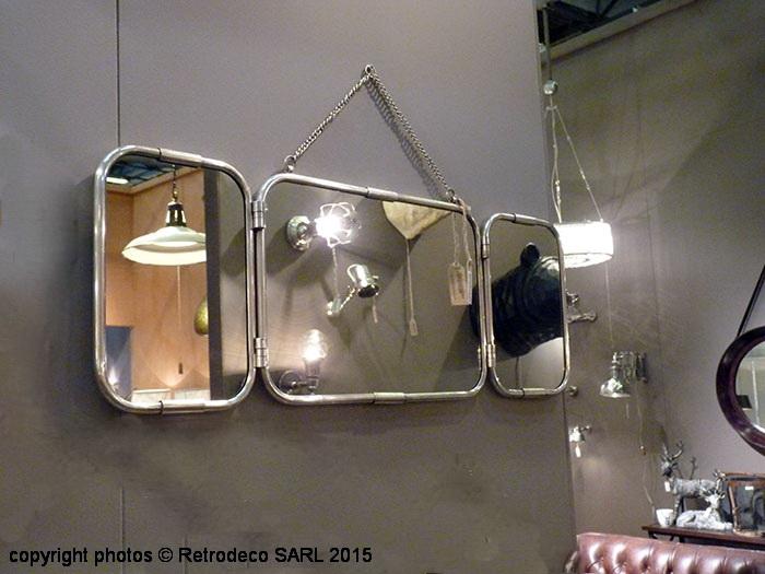 Miroir de barbier triptyque nickel petit d co atelier for Miroir atelier chehoma