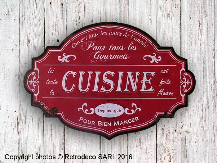 Panneau Décoratif Cuisine Rouge Déco Brocante Antic Line