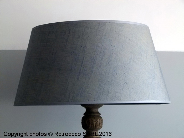 abat jour cylindrique lin bleu gris 40cm chehoma 9700mb40. Black Bedroom Furniture Sets. Home Design Ideas