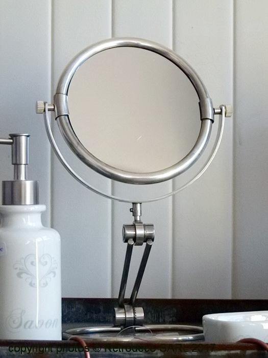 Miroir rond nickel base extensible 15820 for Miroir atelier chehoma