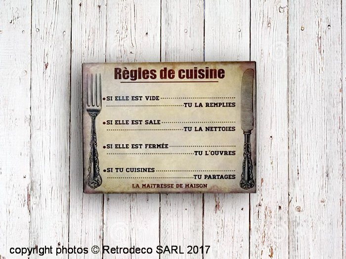 plaque m tal r gles de cuisine d co brocante antic line seb14934. Black Bedroom Furniture Sets. Home Design Ideas