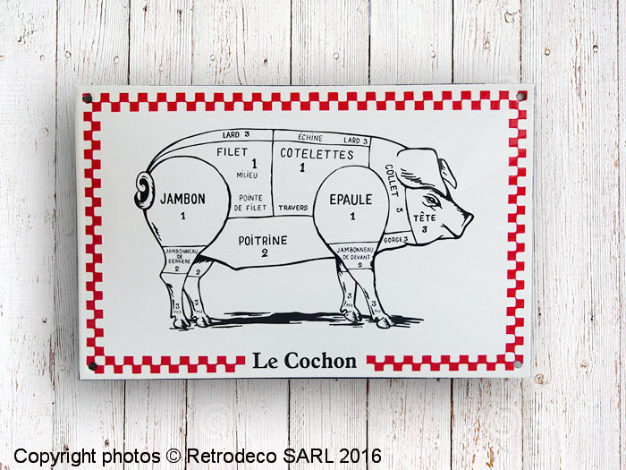 Plaque maill e cochon d co campagne email replica lecn for Plaque deco cuisine retro