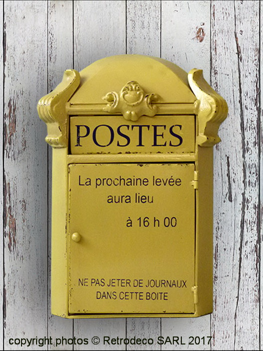 bo te cl s forme boite aux lettres jaune postes d co brocante seb16085. Black Bedroom Furniture Sets. Home Design Ideas