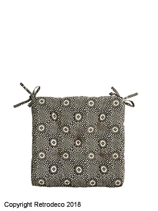 Coussin De Chaise Coton Motif Noir Et Beige Madam Stoltz CP 02