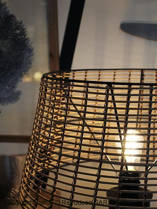 Lampadaire Trepied Abat Jour Rotin Deco Campagne Chehoma 22009