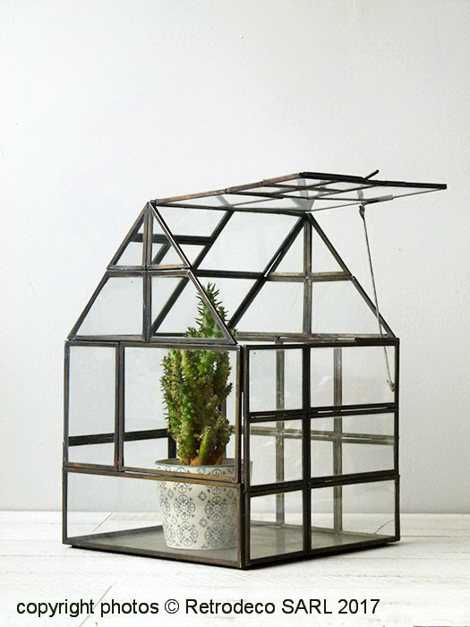 mini serre de jardin ou terrarium verre et m tal laiton 9633 25. Black Bedroom Furniture Sets. Home Design Ideas